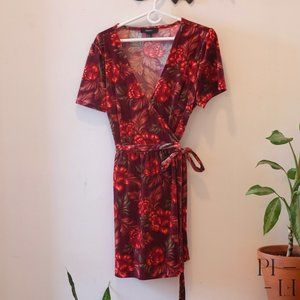 Forever 21 Plus size 2X velvet flower Wrap Dress